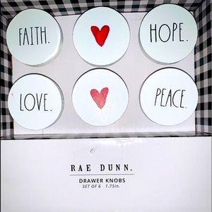 """NWT Rae Dunn drawer knobs set of 6 NIB 1.75"""" NWT"""